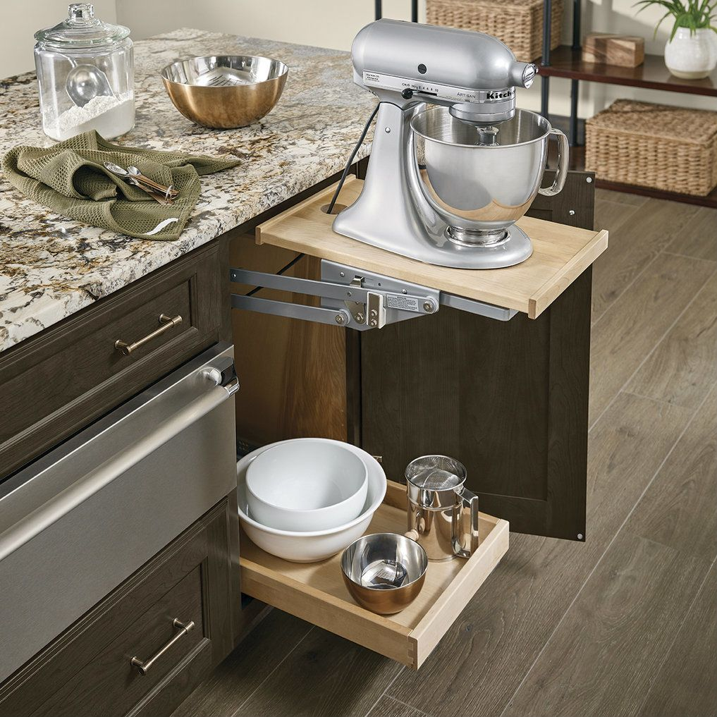 Kraftmaid Kitchen Cabinets Outlet: Base Mixer Shelf In Cannon Grey Cherry In 2019