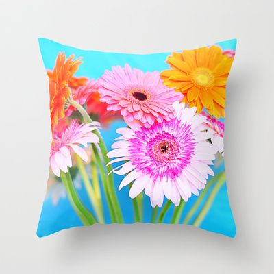 Be Happy... Throw Pillow by Lisa Argyropoulos - $20.00