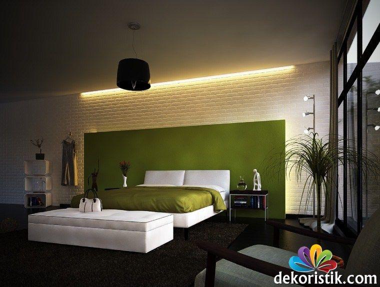 Grün,weiße,moderne,Schlafzimmer