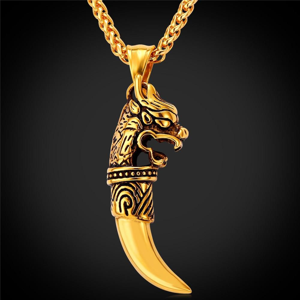e4a611b324afd Vintage 18k Gold Plated China Kirin Head Spike Wolf Tooth Pendant ...