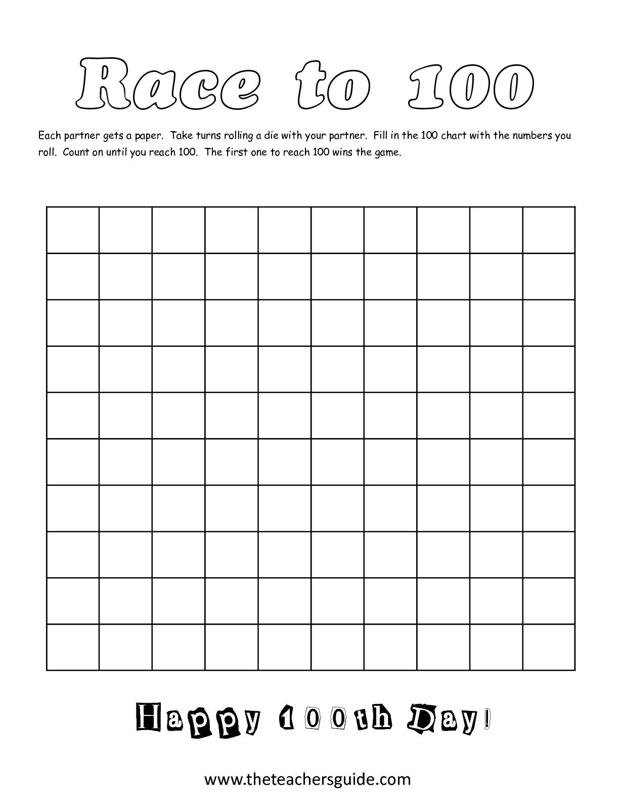 100th Day Of School Race To 100