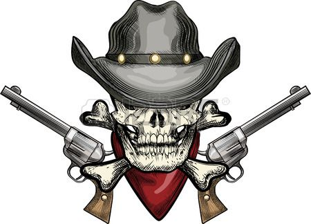illustration with skull in cowboy hat and handkerchief against