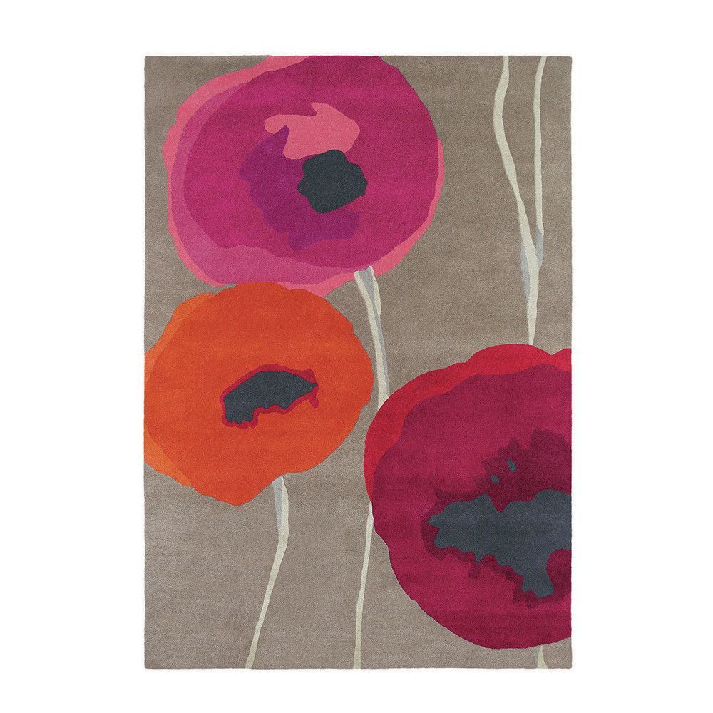 This Poppies rug from Sanderson will add instant glamour to any room. In vibrant shades of pink and orange, this rug is crafted from 100% wool and has an attention grabbing poppy design. Handtufted, i