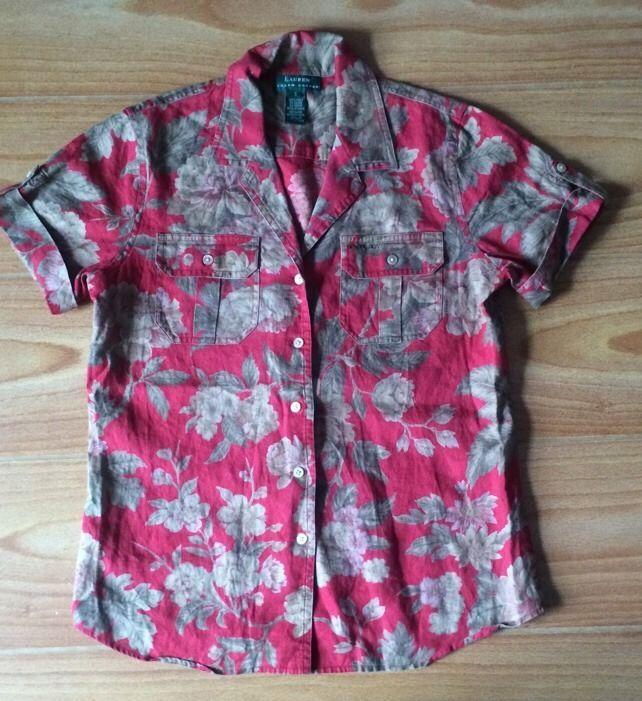 Lauren Ralph Lauren 100% Linen S Blouse Top Red Floral Print Short Sleeves
