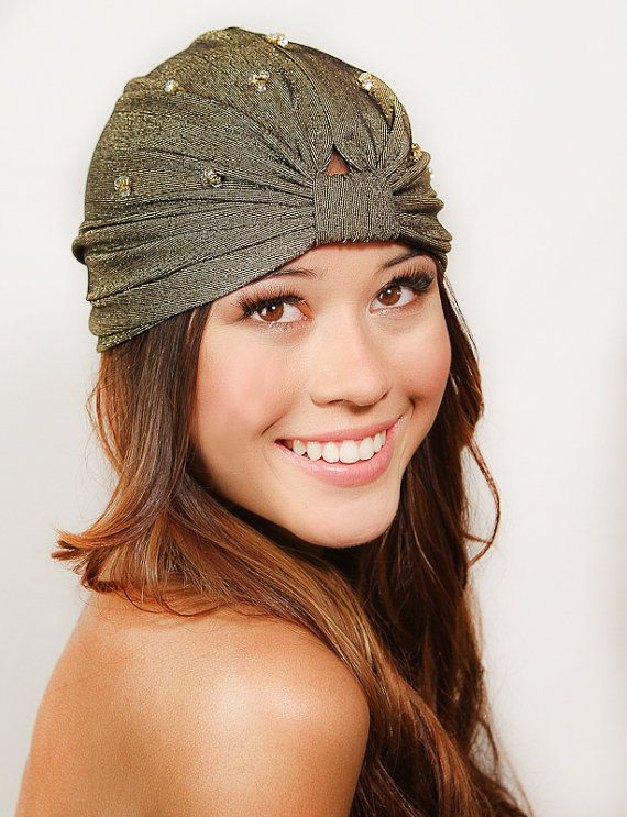 Gold Crystal Full Turban Headband Headwrap Earwarmer by ShopKP, $34.00