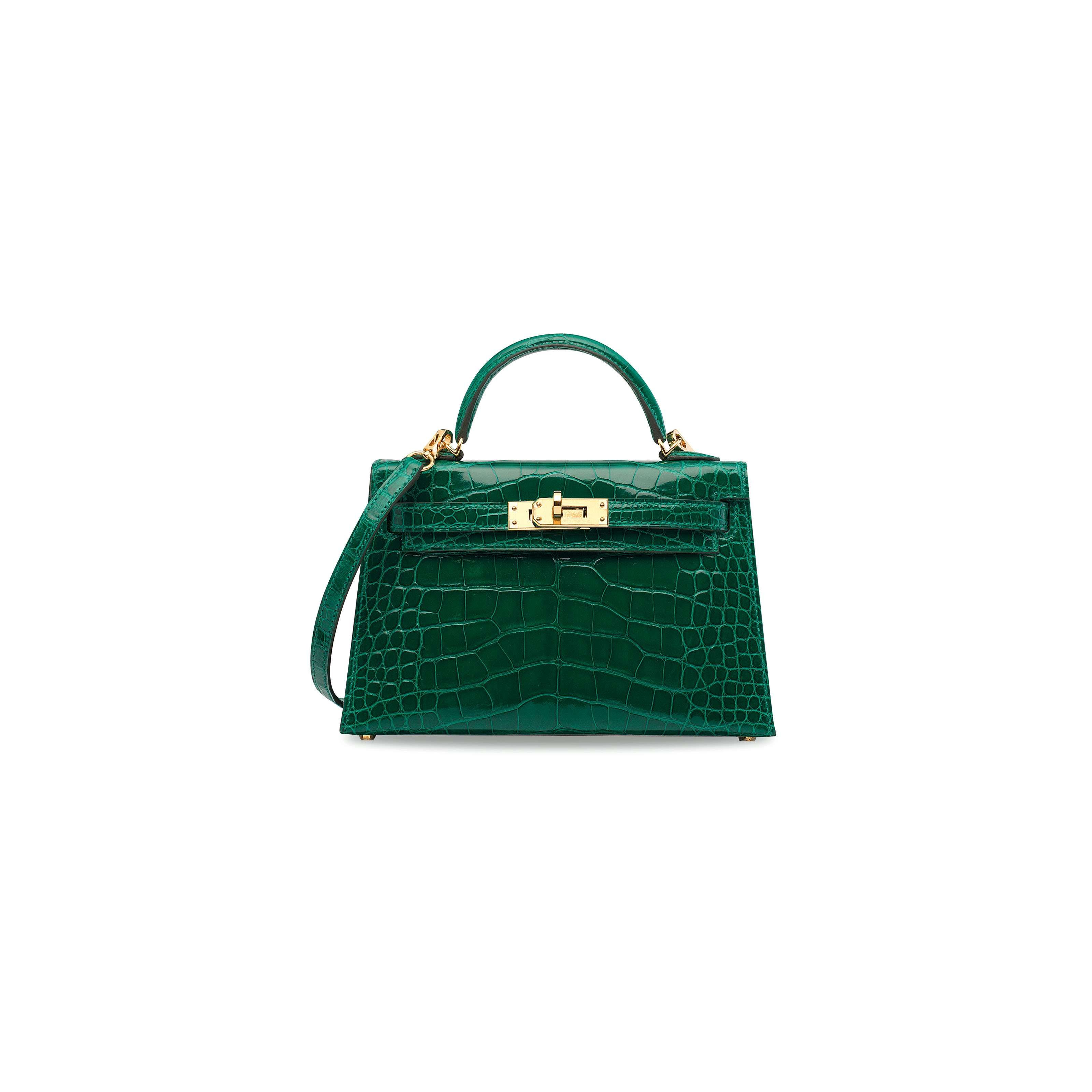 25bbe74e207b9 A SHINY VERT ÉMERAUDE ALLIGATOR MINI KELLY 20 II WITH GOLD HARDWARE HERMÈS,  2017