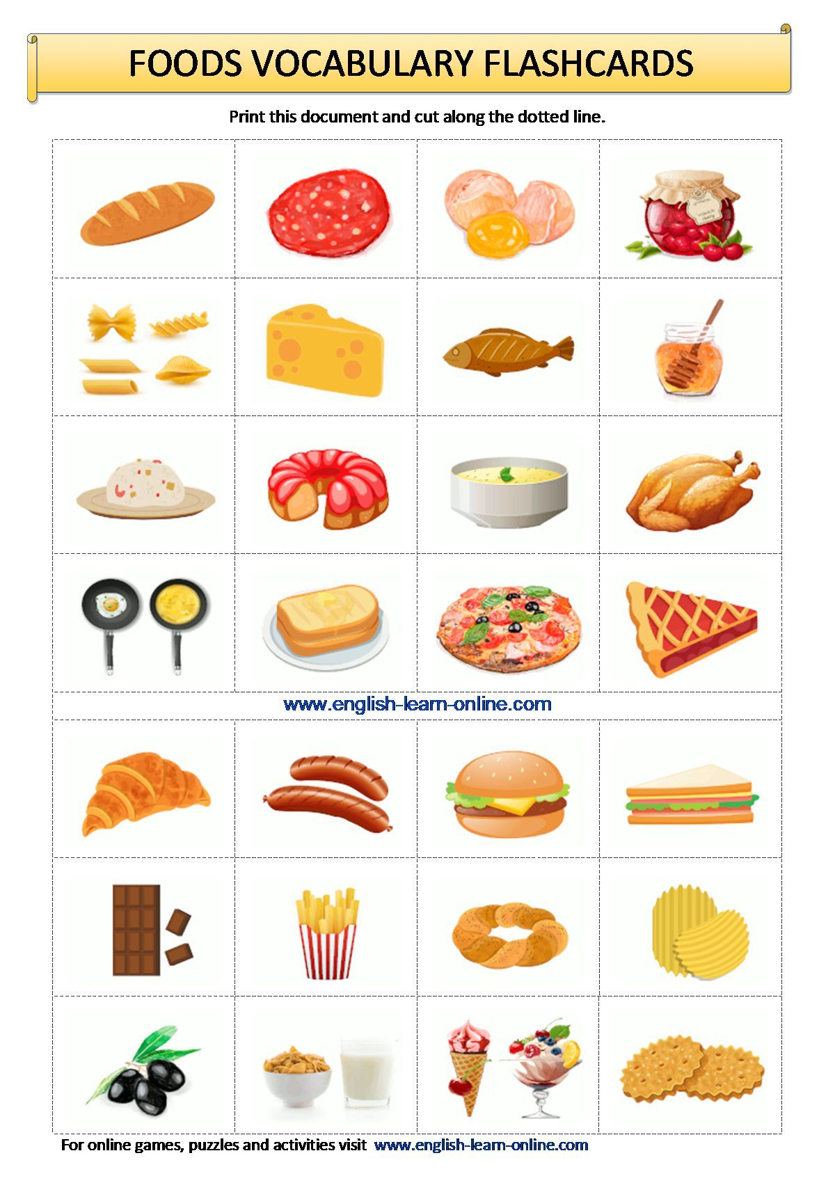 Foods Vocabulary Flashcards Worksheet In