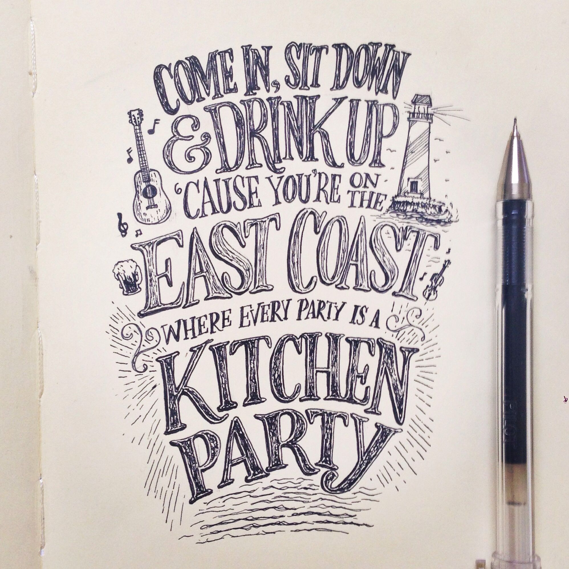 kitchen party! @beejaedee #eastcoast #lettering #handlettering ...