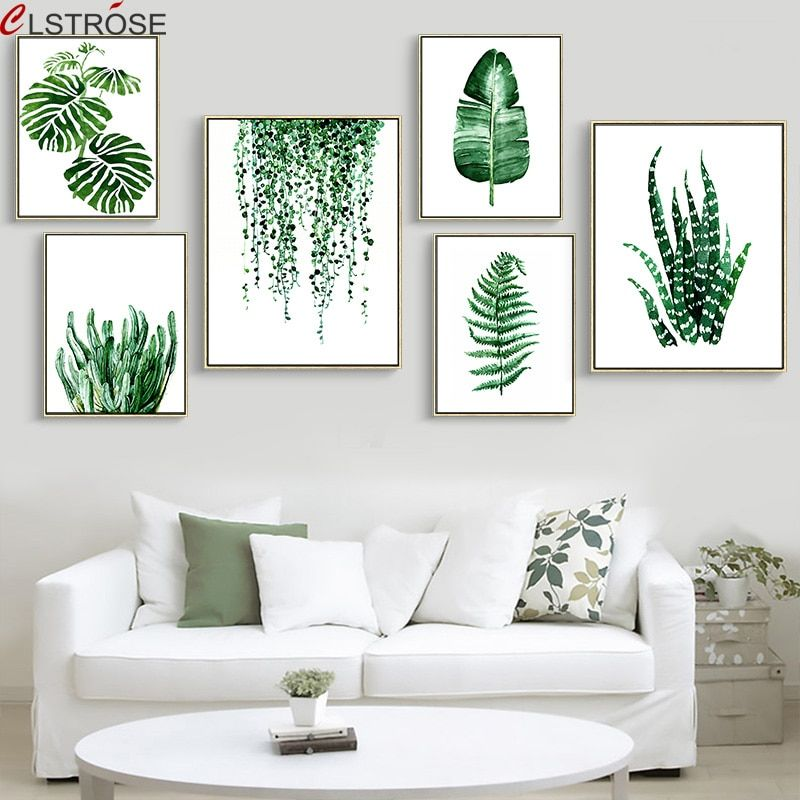 3pcs Canvas Green Plant Frameless Painting Ornament Poster Wall Background Decor