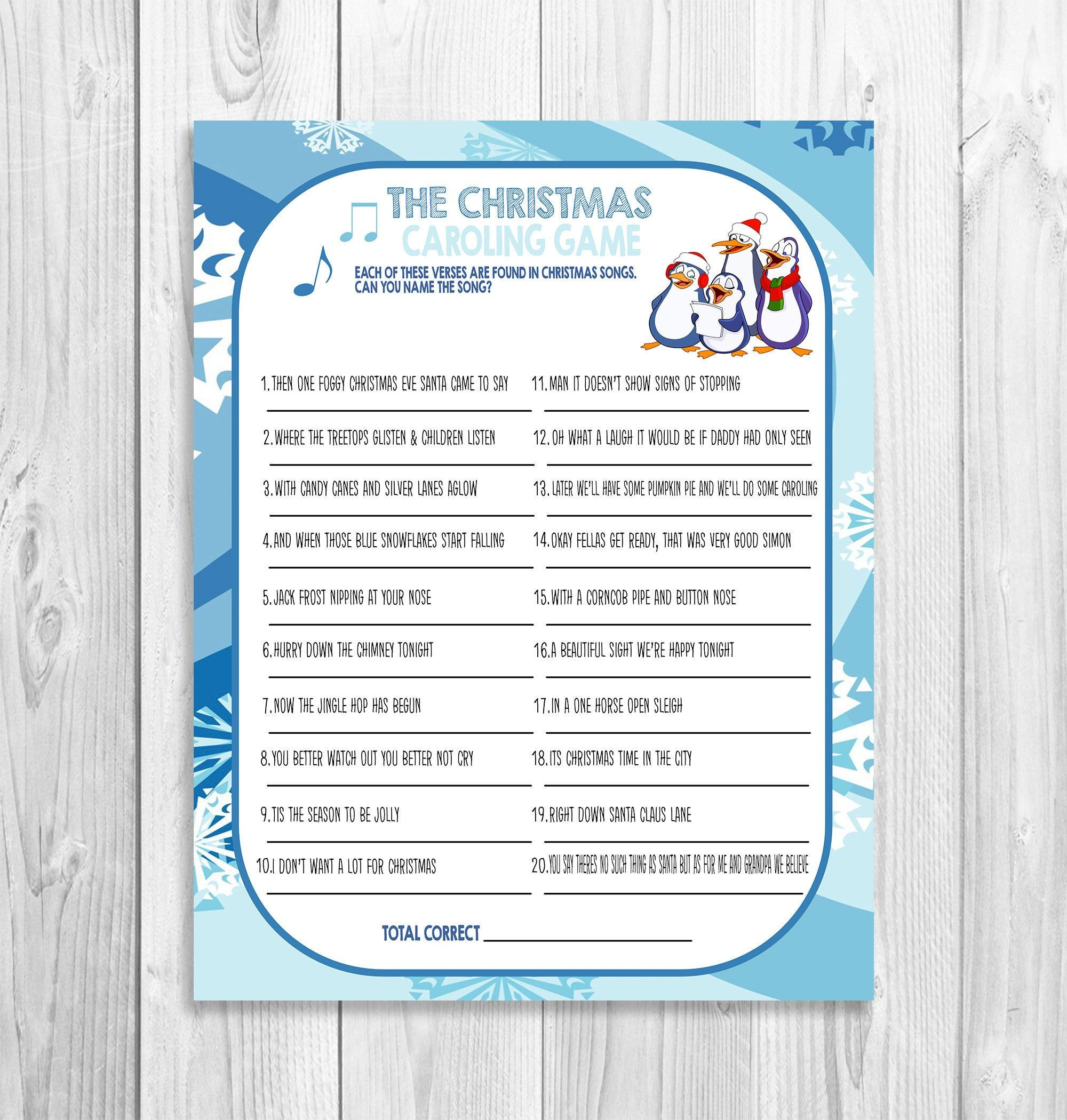 Christmas Song Carol Game, DIY Christmas Song Game