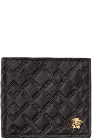 25a2f59a3354 Versace - Black Logo Embossed Bifold Wallet
