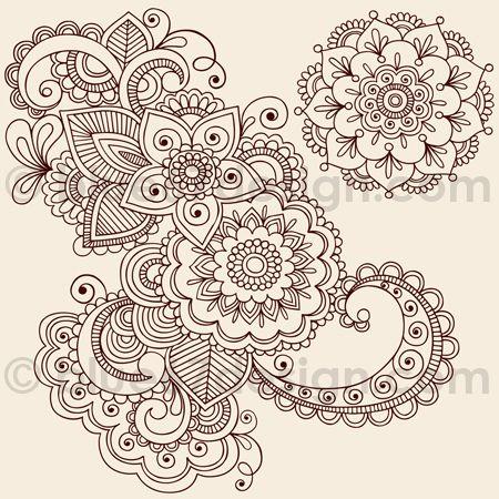 Mehndi Henna Tattoo Paisley Doodles Illustration by blue67design ...