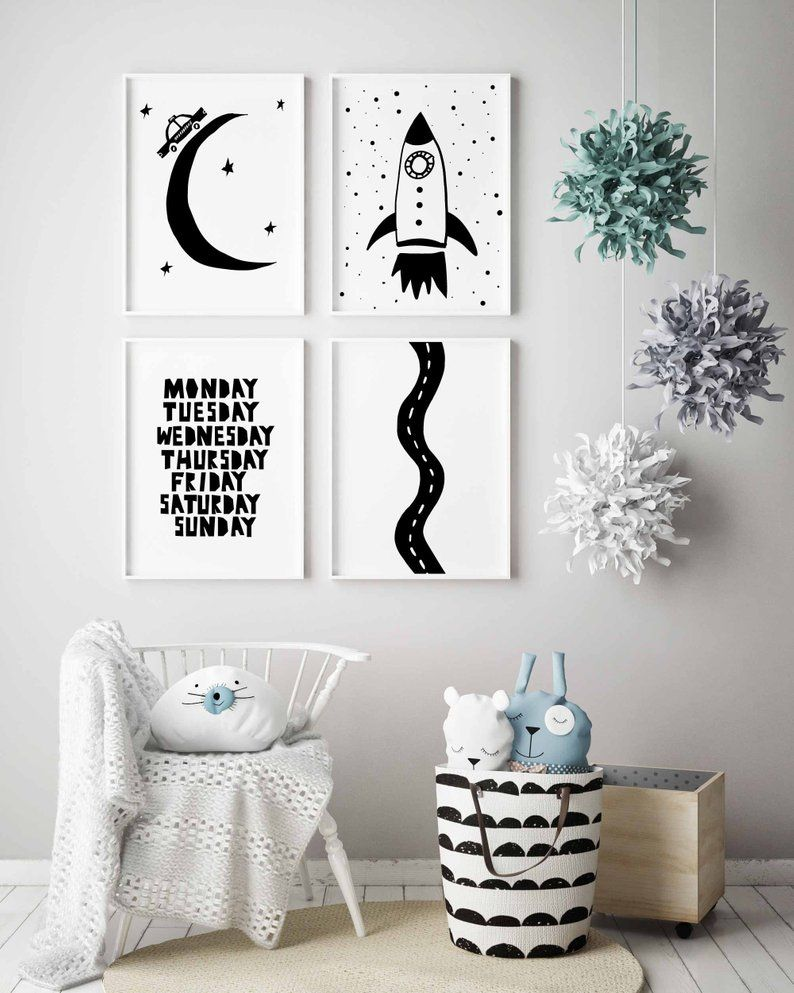 Rocket Wall Art Boy Nursery Decor
