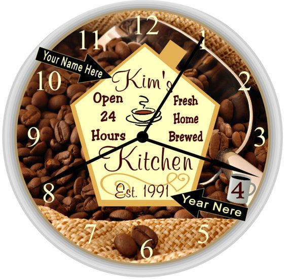 Coffee Bean Personalized Kitchen Wall Clock. ((( Mother\'s Day Gift ...