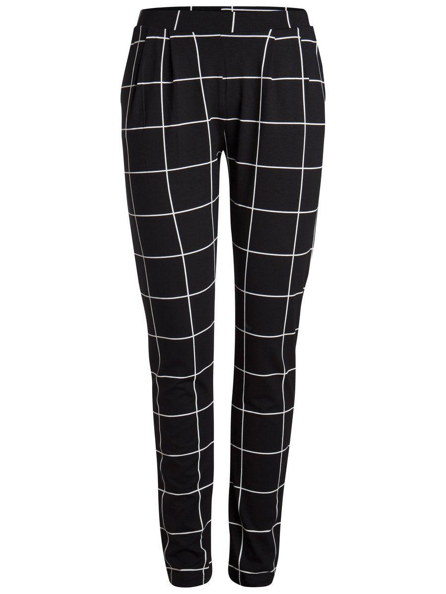 Jersey Hose Mit Karo Muster Von Pieces Aboutyoude Gemusterte Hose Hosen Stoffhose