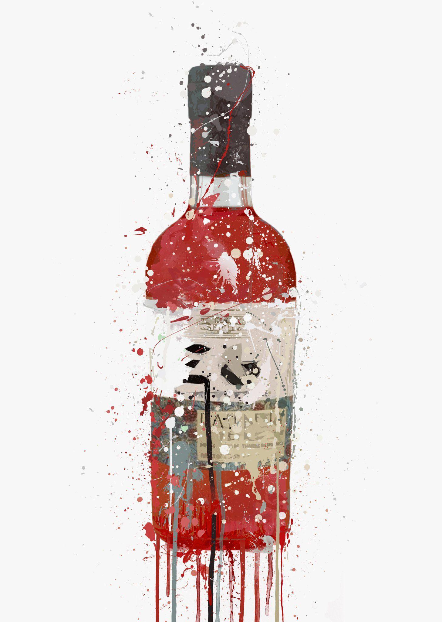 Gin Bottle Wall Art Print Berry In 2020 Wall Art Prints Bottle Wall Wall Art