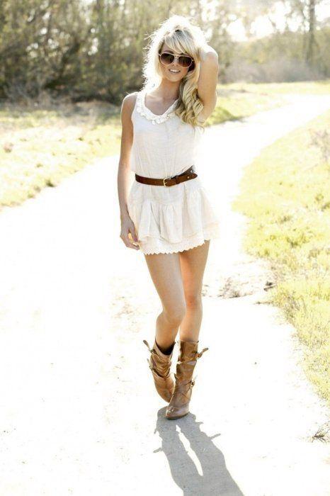 White Summer Dress Brown Boots