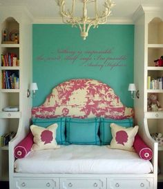 Nice room for a teen, good ideas for room, bookshelves, headboard, etc