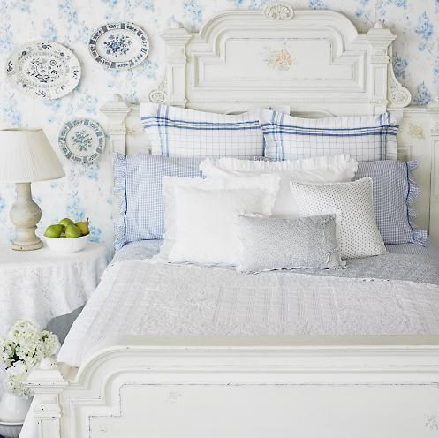 blue and white romantic country bedroom Home style ideas