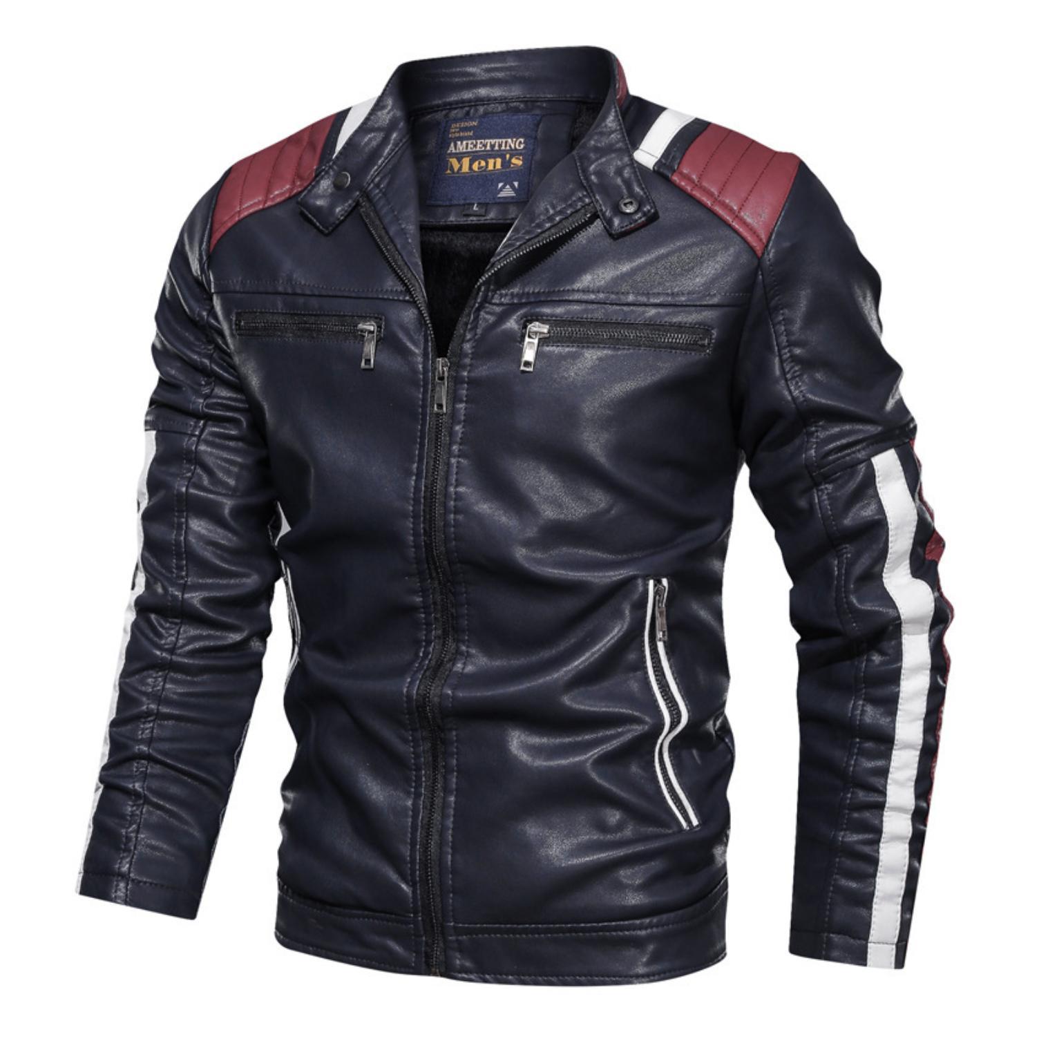 Mens Biker Vegan Leather Jacket With Shoulder Details Casual Leather Jacket Leather Jacket Men Men S Leather Jacket [ 1504 x 1504 Pixel ]