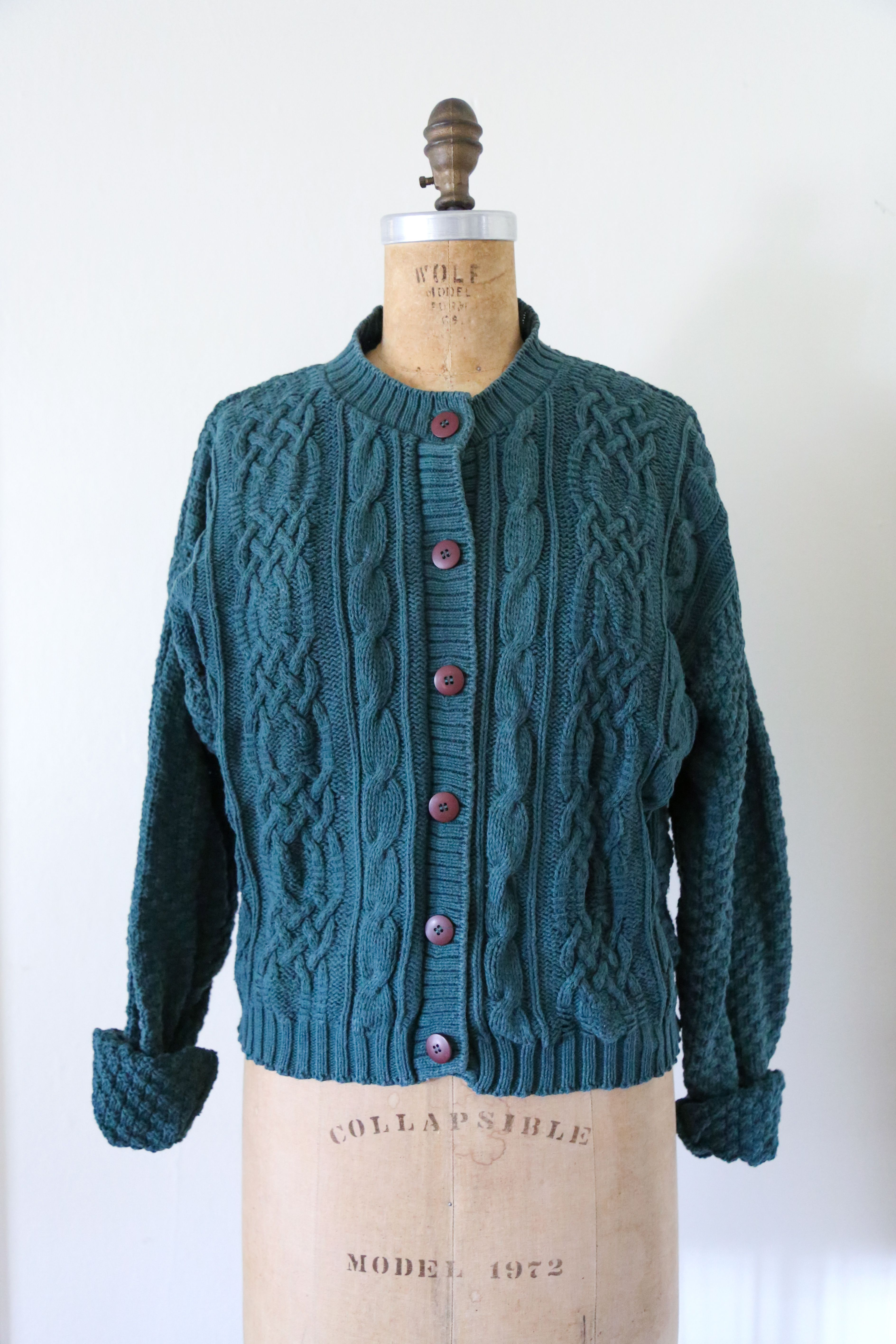 Vintage Emerald Green Cable Knit Cardigan // Vintage Button Down ...