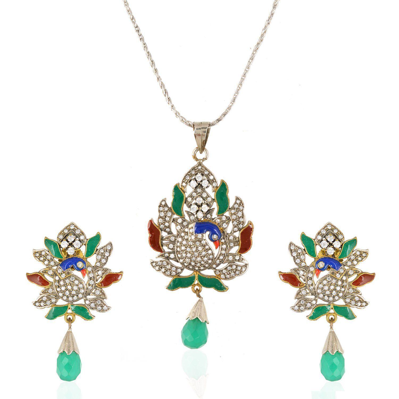 Be you elegant meena work victorian look peacock style earrings and