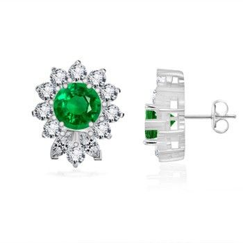 Angara Round Emerald Studs in Yellow Gold hxAAKgCrM5
