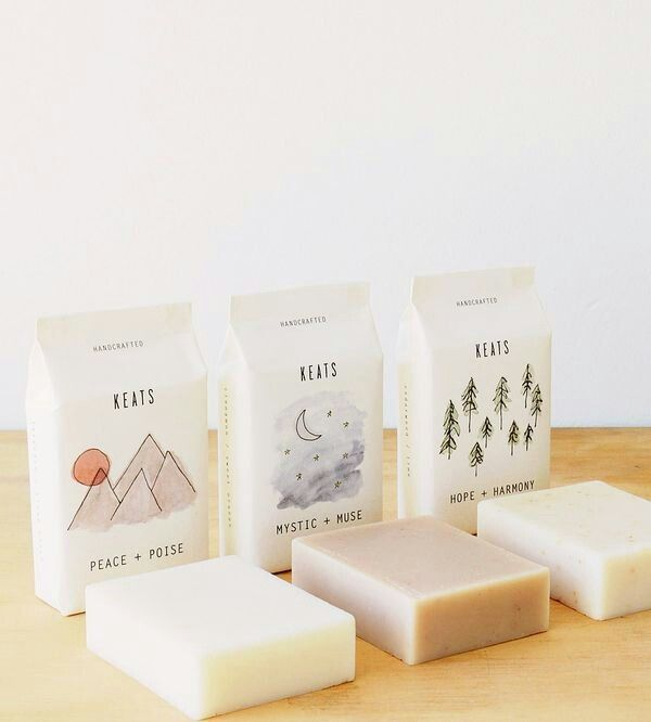 Outdoor designs on clean white packaging