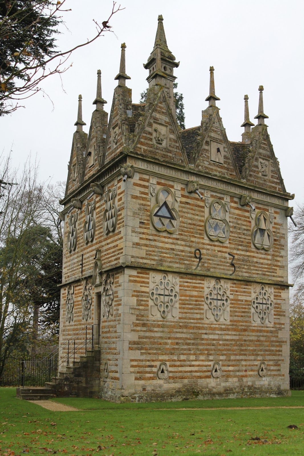 The Triangular Lodge is a folly, designed and constructed between 1593 and 1597 by Sir Thomas Tresham near Rushton, Northamptonshire, England.