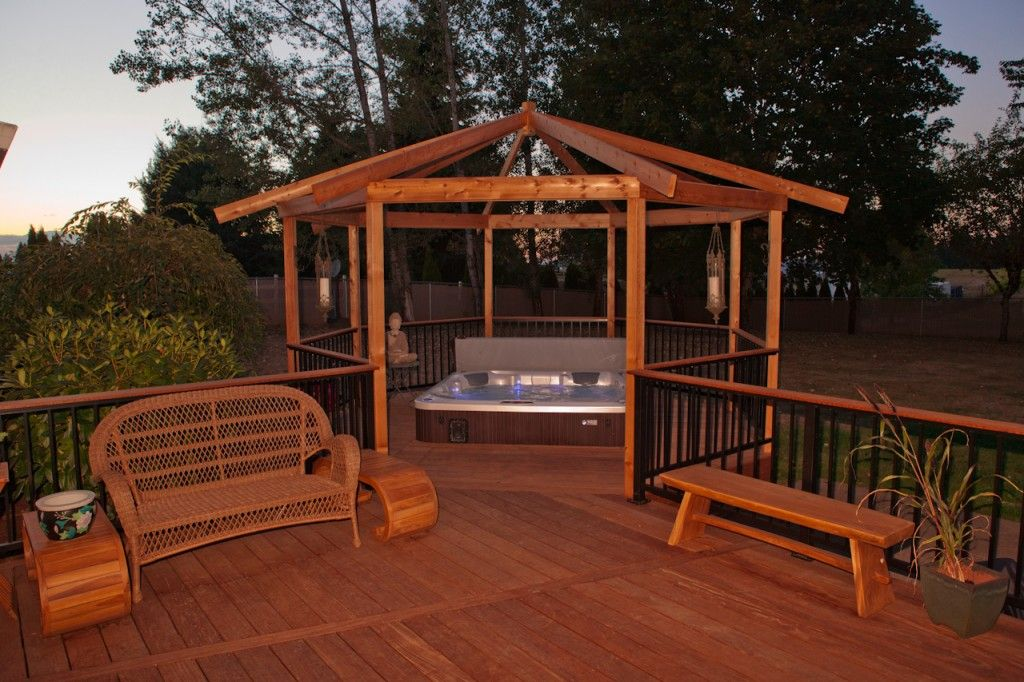 Hot tub w ironwood decking gazebo alumarail deck for Decks and gazebos