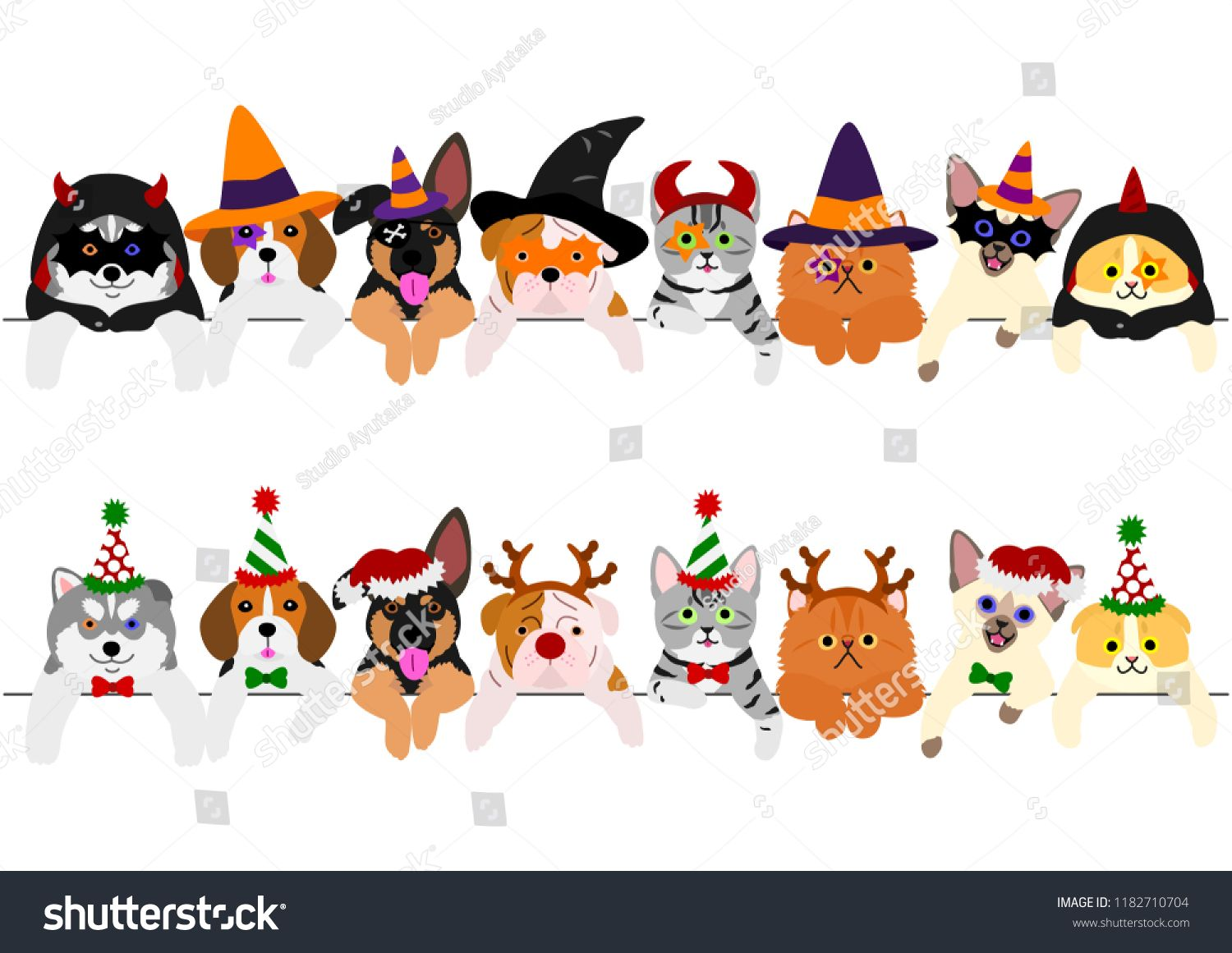 Cute Puppies And Kitties Border Set With Halloween Costumes And With Christmas Costumes Puppies And Kitties Cute Puppies Puppies