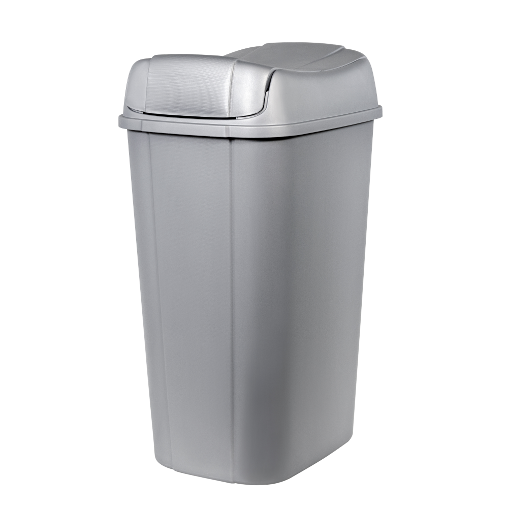 13 3 Gallon Hefty Pivot Lid Trash Can Silver With Decorative Texture Walmart Com Trash Can Kitchen Trash Cans Garbage Can Storage
