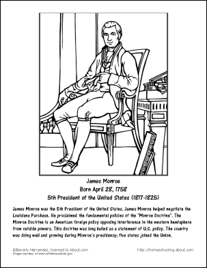 james monroe wordsearch worksheets coloring pages