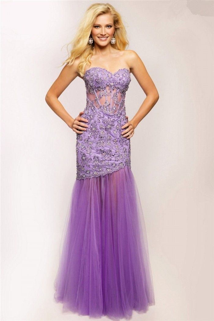 Trumpet Mermaid Sweetheart Lilac Tulle Lace Beaded See Through ...