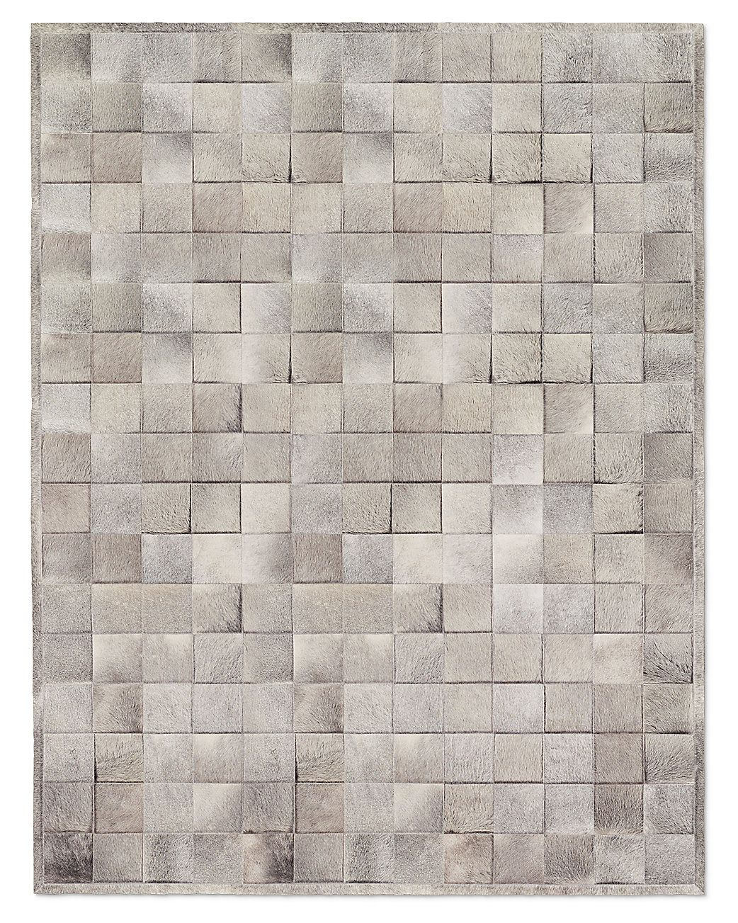 south american cowhide tile rug - grey | a house to call my own