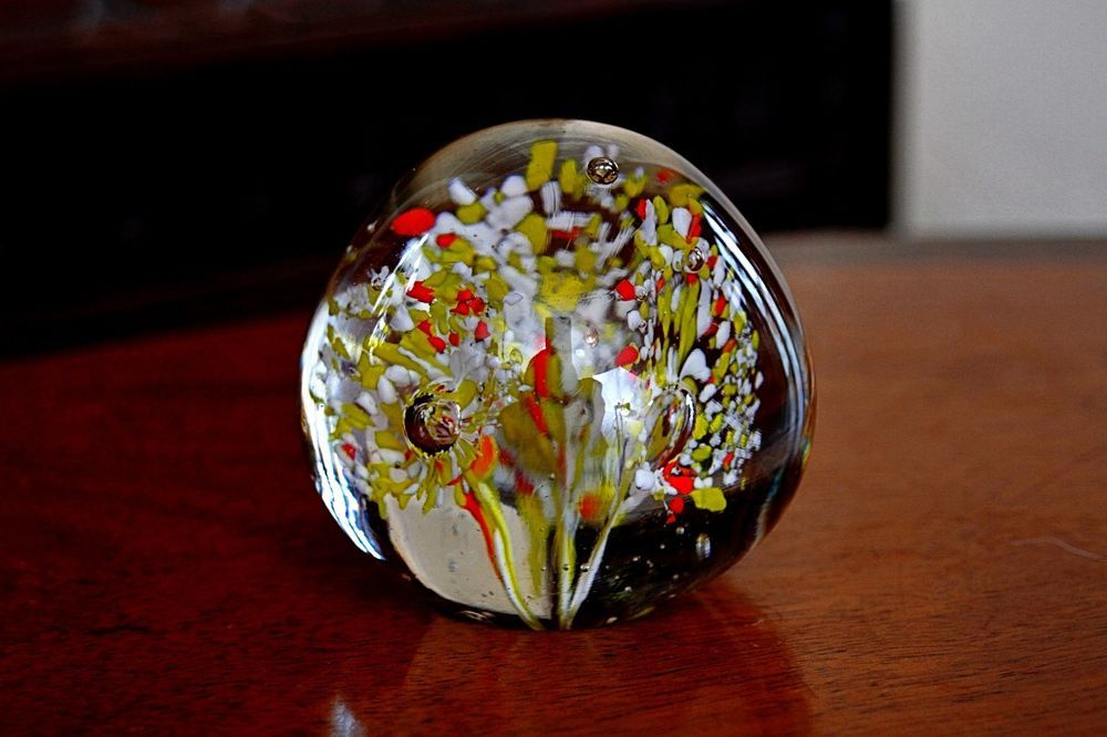Details about Vintage Glass Paperweight Glass