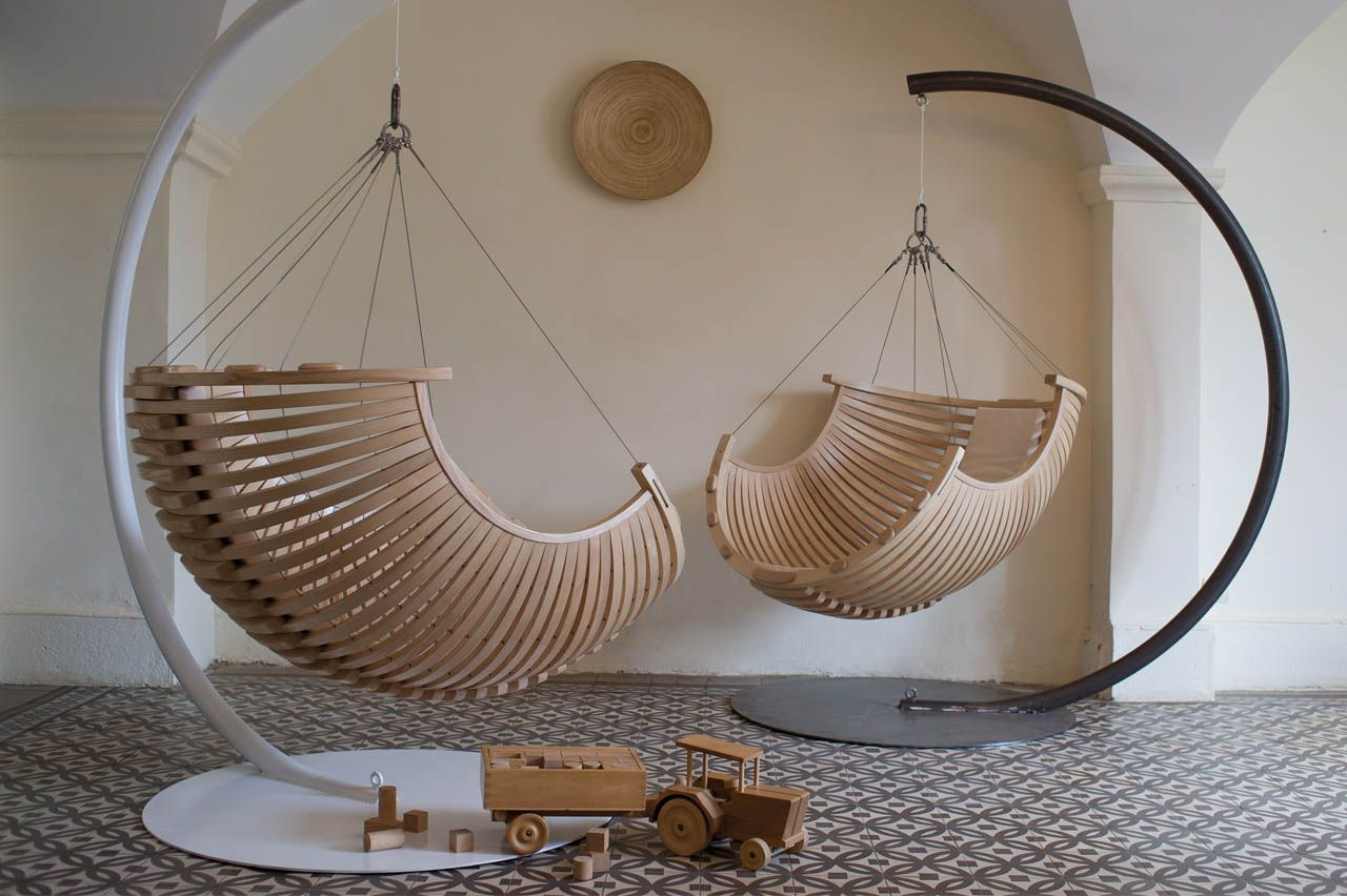Unique Cool Curved Wood Hanging Chair Design Inspiration For