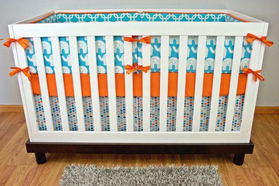 Aqua Orange Elephant Crib Bedding, Baby Bedding, Modern ...