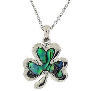 Genuine Paua Shell Shamrock Necklace - Jewelry Gifts for St. Patrick's Day