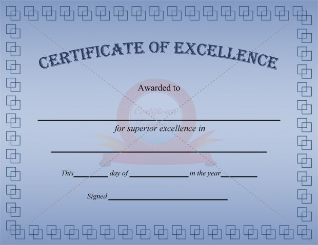 Excellence Certificate Blue Template  Certificate Of Excellence