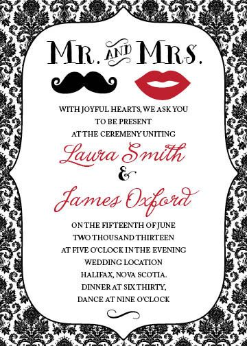 Mr Mrs Lipoustache Wedding Invitation Black And Red