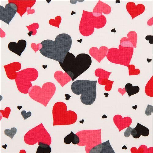 White hearts fabric red pink grey by robert kaufman usa for Stoffa da parati