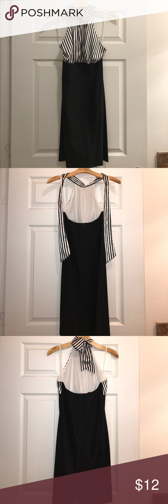 Black and White Dress This dress is your a head turner ! Used 1-2 times, in great condition. Well taken care of. Backless ties at neck and fitted. Great for date night or girls night out. Offers welcome. Smoke/pet free home. Fast shipping !! PSS USA Dresses Backless