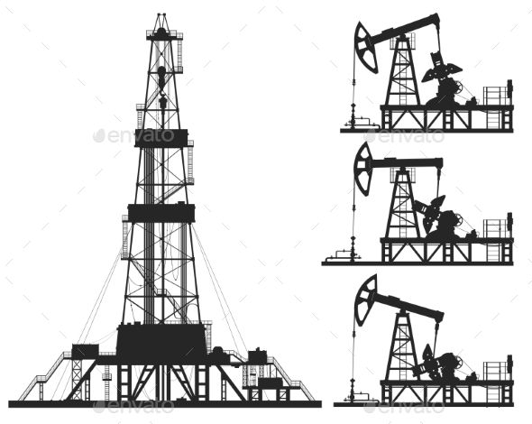 Set Of Oil Pumps And Rig Silhouettes Rigs Drilling Rig Oil Sands