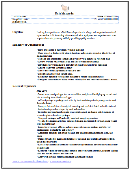 Exceptional Professional Curriculum Vitae / Resume Template For All Job Seekers Example  Of A Mail Clerk Resume Sample With Relevant Work Experience In The Mail  Room, ...