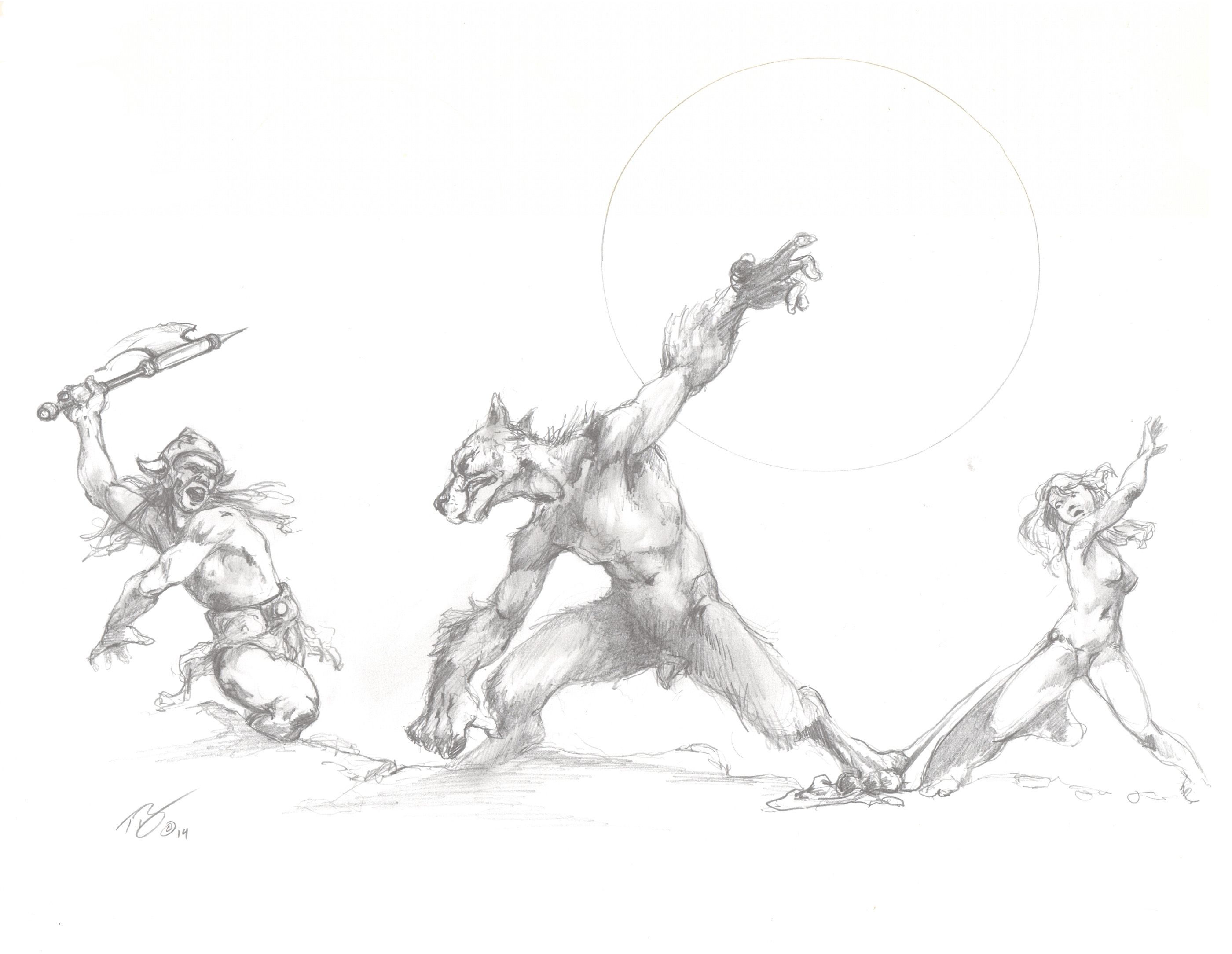 Barbarian, Werewoof , and girl
