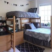 34 The Nuiances of Dorm Room Ideas Lofted Bed Desk College Dorm Room Ideas Bed D...