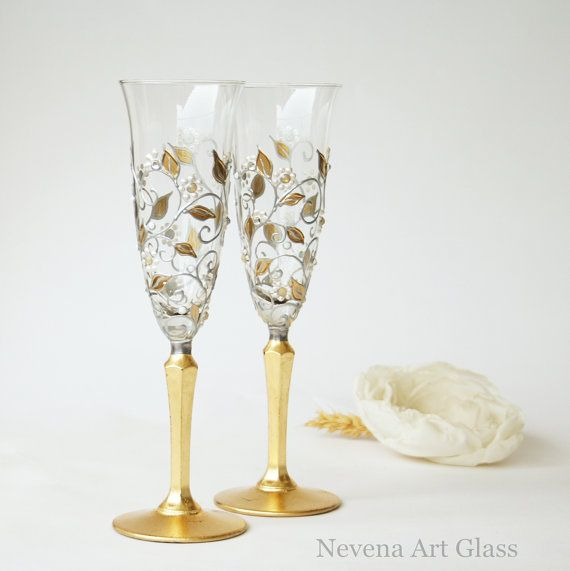 Champagne Flutes Wedding Glasses Champagne от NevenaArtGlass