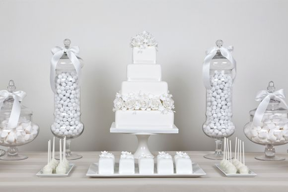 White Party Inspiration White Candy Buffet White Dessert Tables White Candy Bars