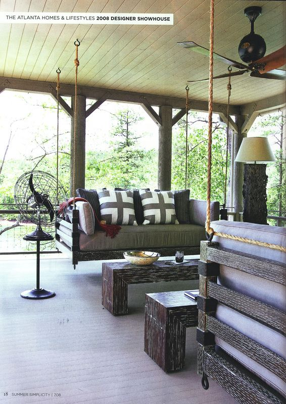 beautiful porch swings! Facing porch swings for a wrap around porch. Love the dark wood with grey fabric.